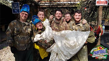 Stag Do Paintball in Wedding Dress